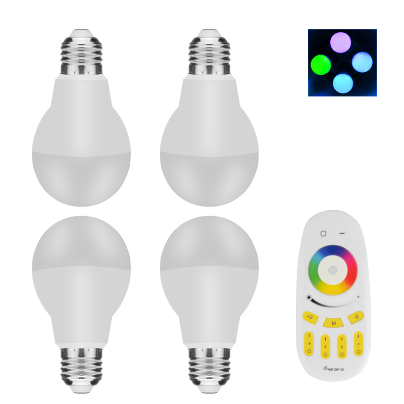Wholesale Remote Control E27 RGBW LED Light Bulbs (4 Bulbs, 6W, 500 Lumens, 256 Colors)