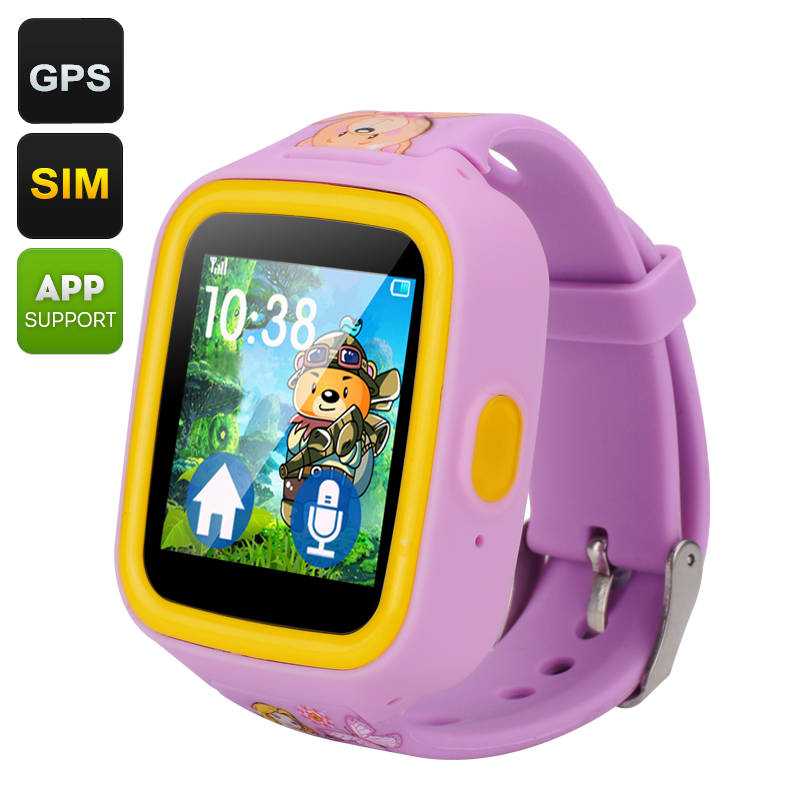 Wholesale Touch Screen GPS Tracker Kids Watch Phone (Quad Band GSM, Two-Way Communication, Geo Fencing, Pedometer, Purple)