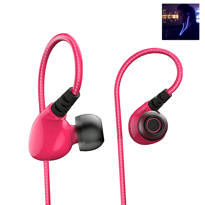 Wholesale Liberator Fireflies Glowing LED Sports Earphones Stereo Headsets (Composite Diaphragm, Call Answer)