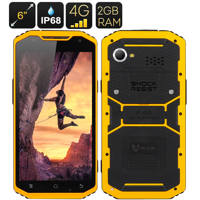 Wholesale MFOX A10 IP68 Rugged Waterproof 6 Inch 4G Android 5.0 Smartphone (1920x1080, 64 Bit Octa Core, 2GB RAM, 16GB, Yellow)