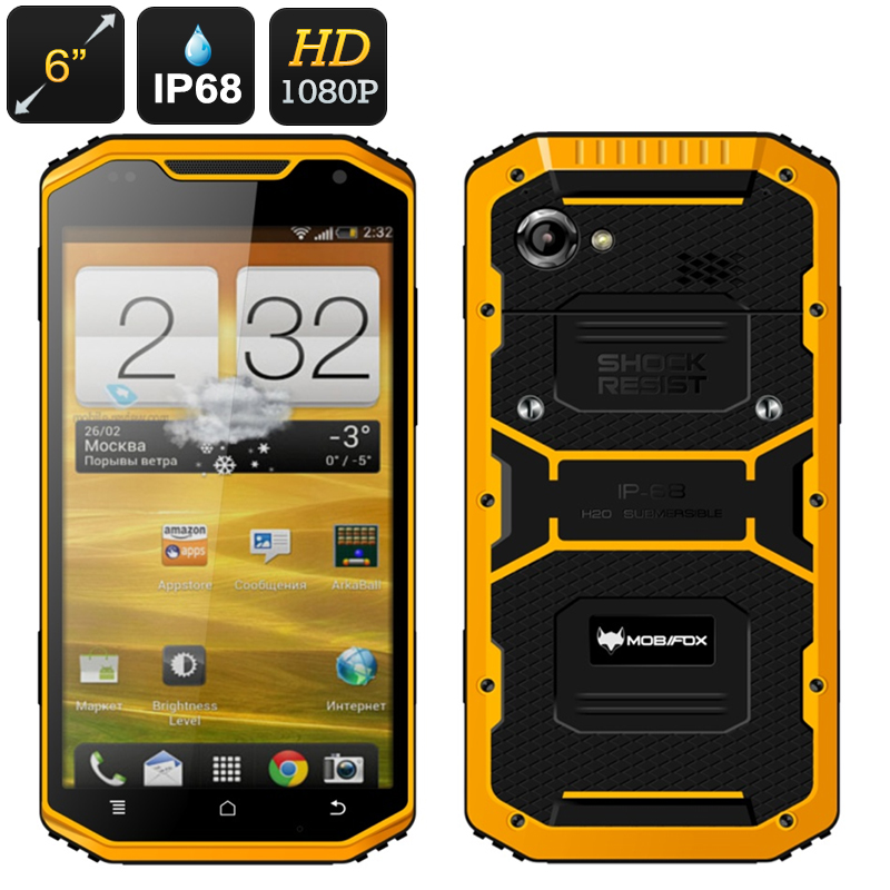 Wholesale MFOX A8 Military IP68 Rugged 6 Inch Smartphone (Quad Core CPU, GPS, Bluetooth, 2GB RAM, 16GB)