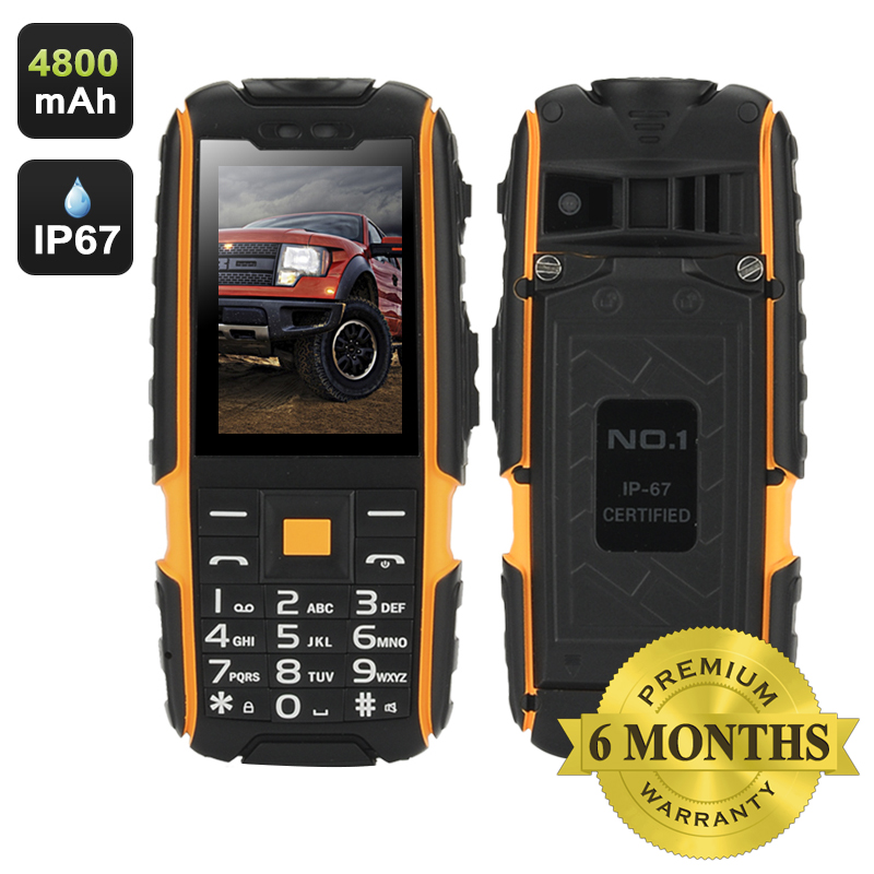 Wholesale NO.1 A9 IP67 Waterproof Outdoor Phone (Flashlight, FM Radio, Dual SIM, 4800mAh, Yellow)