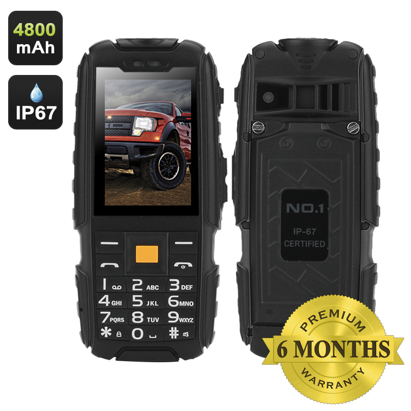 Wholesale NO.1 A9 IP67 Waterproof Outdoor Phone (Flashlight, FM Radio, Dual SIM, 4800mAh, Black)