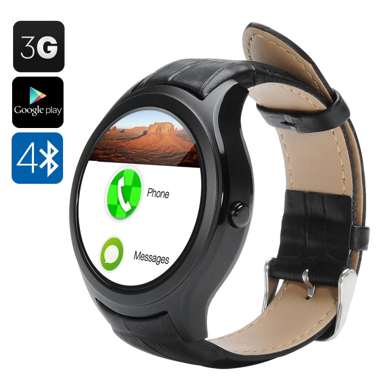 Wholesale NO.1 D5 Android Smart Watch with GPS, Heart Rate Monitor, Pedometer, Barometer (Wi-Fi, 3G, BT4.0, Black)