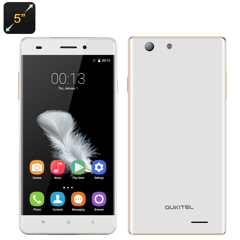 Wholesale OUKITEL U2 4G Android Smartphone (5 Inch, Quad Core CPU, 1GB RAM, 8GB, White)