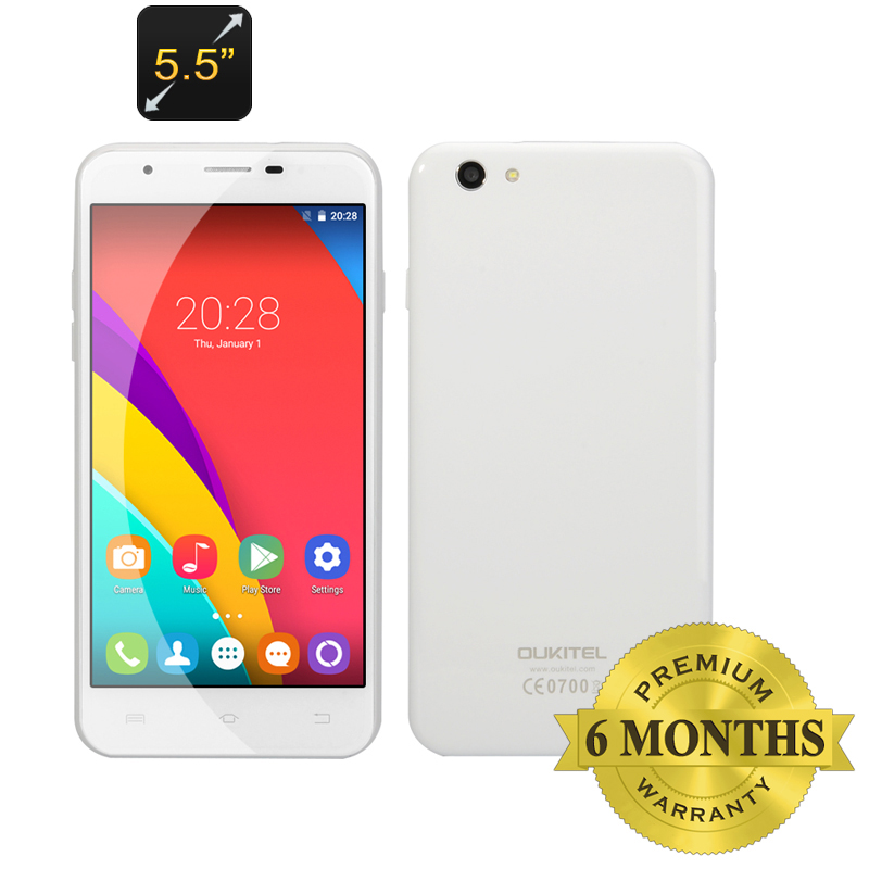 Wholesale OUKITEL U7 Pro 5.5 Inch Android 5.1 Smartphone (Dual SIM, Quad Core CPU, Smart Wake, 1GB RAM, 8GB, White)