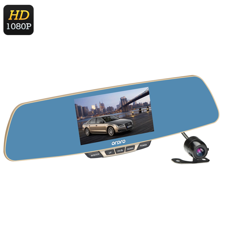 Wholesale Ordro T2 1080P Car DVR (Rearview Mirror, 5 Inch LCD, 170 Degree Wide Angle, 1/4 Inch CMOS)