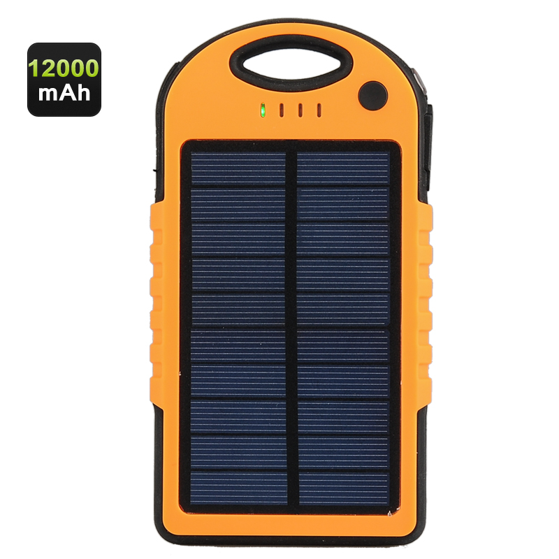 Wholesale Rugged 12000mAh Solar Charger Power Bank (IPx6 Waterproof, Dual USB, Dust Proof, Shock Proof)