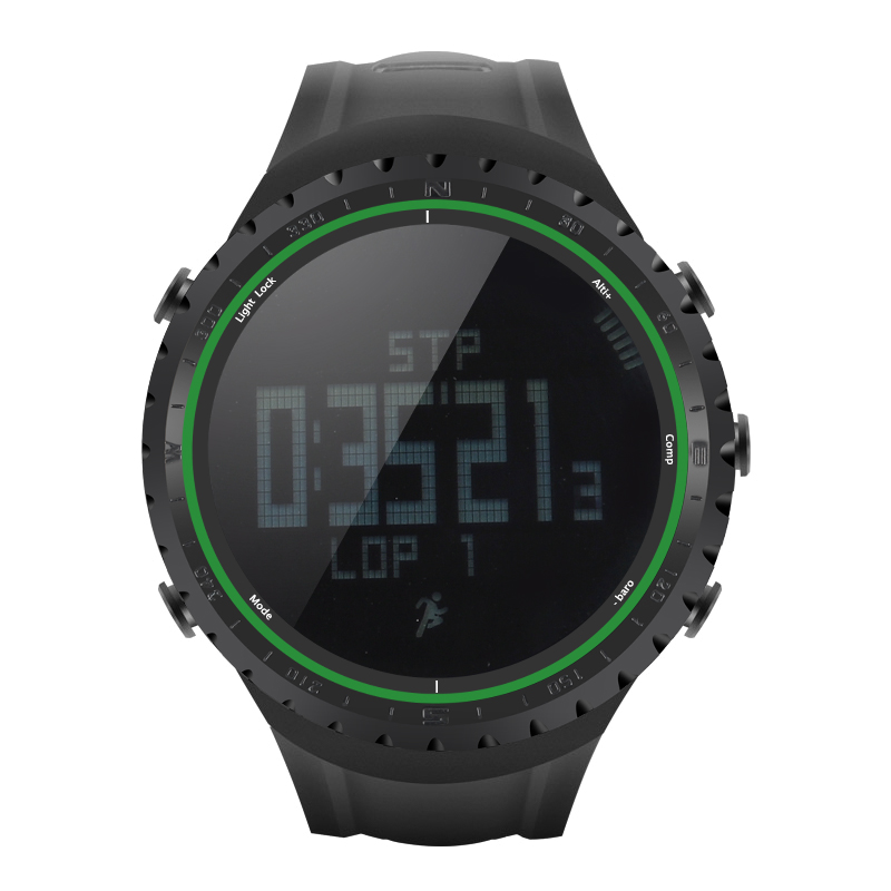 Wholesale Sunroad FR801 Waterproof Sports Watch (Pedometer, Calorie Counter, Thermometer, Barometer, Altimeter, Compass, Green)