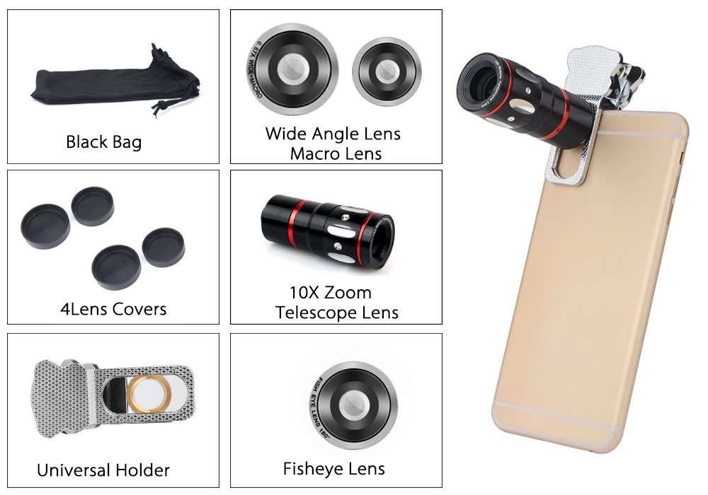 Universal 4-in-1 Cell Phone Camera Lens Kit (X10 Telescopic Lens, Fisheye Lens, Macro Lens, Wide Angle Lens, Silver)