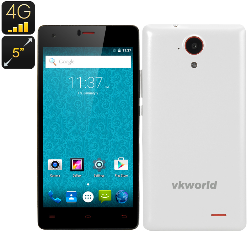 Wholesale VKWorld VK6735x Dual SIM Android 5.1 4G Smartphone (Quad Core CPU, 13MP, 1GB RAM, 8GB, White)