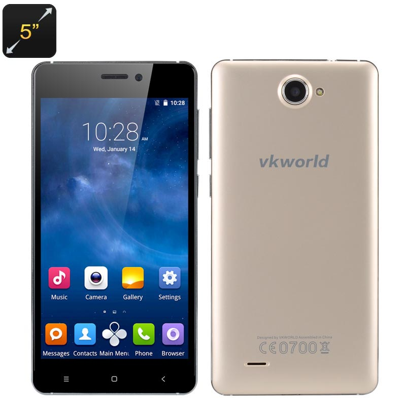 Wholesale VKworld 700x 5 Inch HD Android 5.1 Smartphone (Dual SIM, Corning Glass IPS Screen, Quad Core CPU, Smart Wake, Gold)