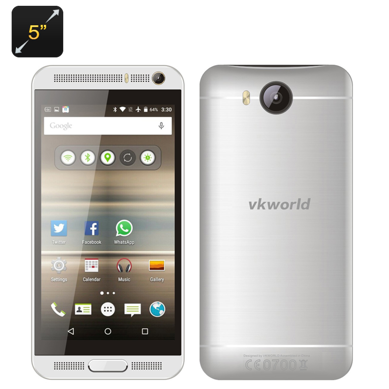 Wholesale VKworld VK800X 5 Inch Android 5.1 Dual SIM Smartphone (Quad Core CPU, Smart Wake, 2200mAh, 8GB, Silver)