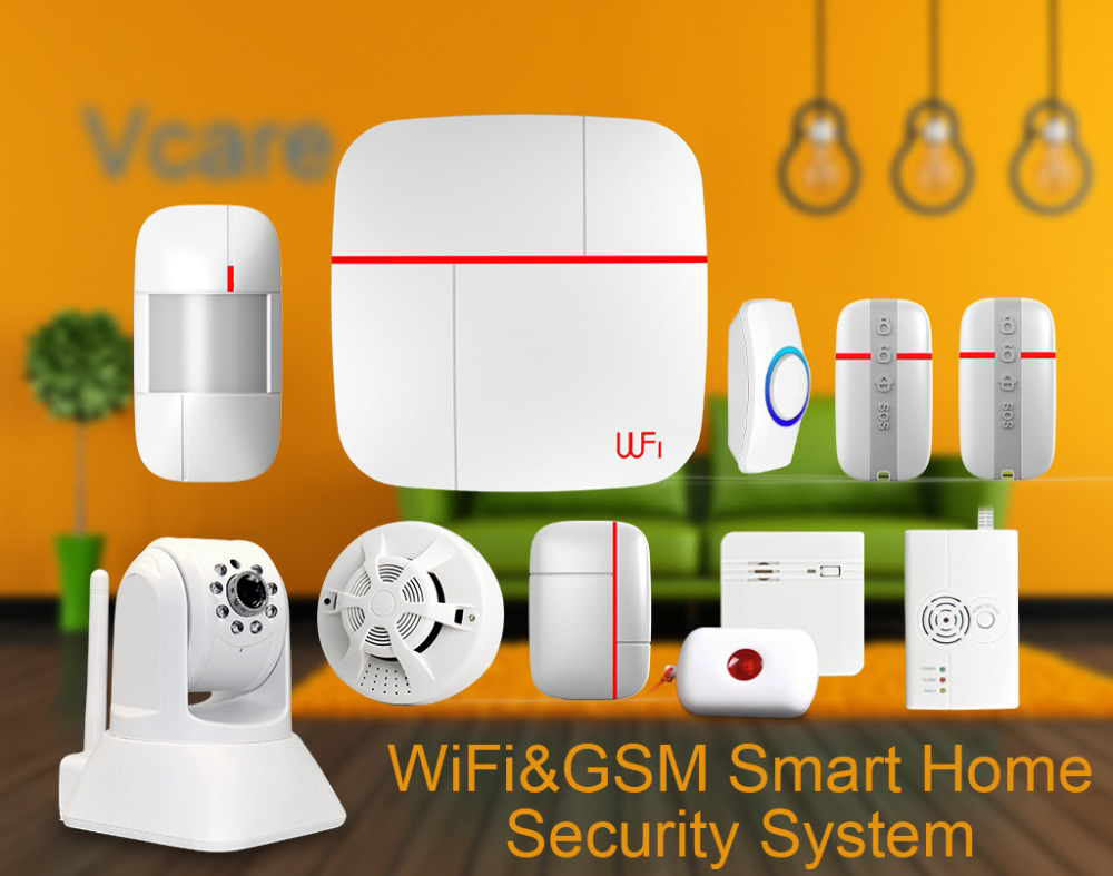 Wholesale Vcare GSM Wi-Fi Smart Home Security System with IP Camera (Door/Window Alert, PIR Motion Detection Alarm, Wireless Remote Control)