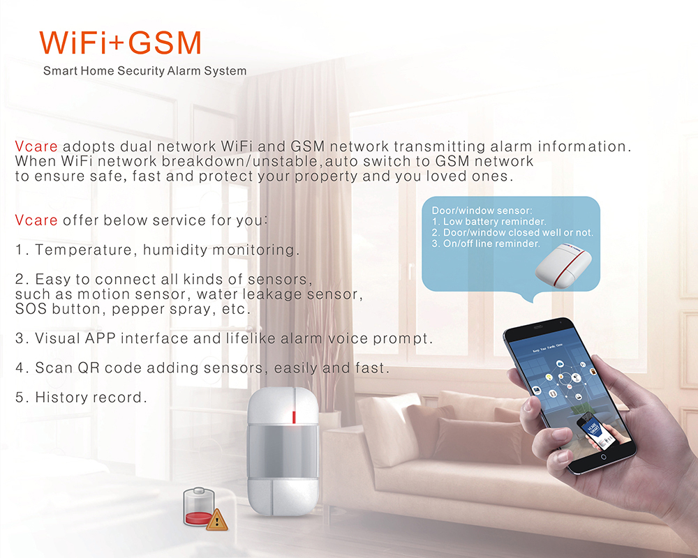 Vcare Gsm Wi Fi Smart Home Security System With Ip Camera