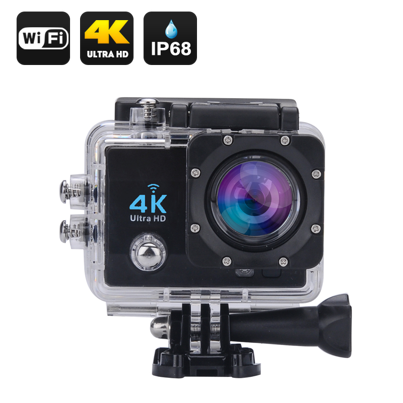 Wholesale Wi-Fi 4K Waterproof Sports Action Camera (Ultra HD, 16MP, HDMI, 170 Degree Wide Angle, Black)