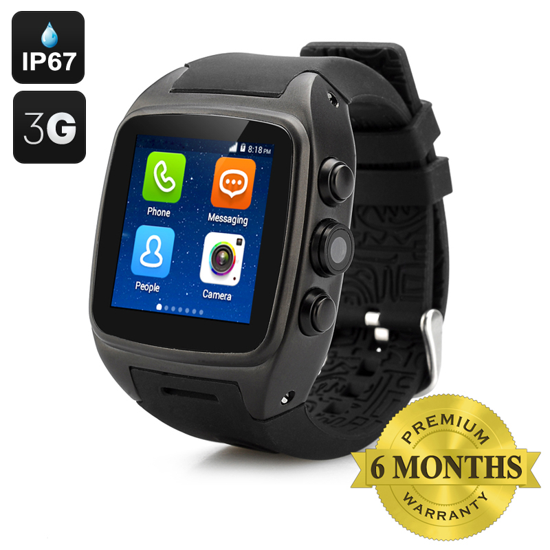 Wholesale iMacwear SPARTA M7 Waterproof 3G Smart Android Watch Phone (1.54 Inch Touch Screen, Dual Core CPU, Black)
