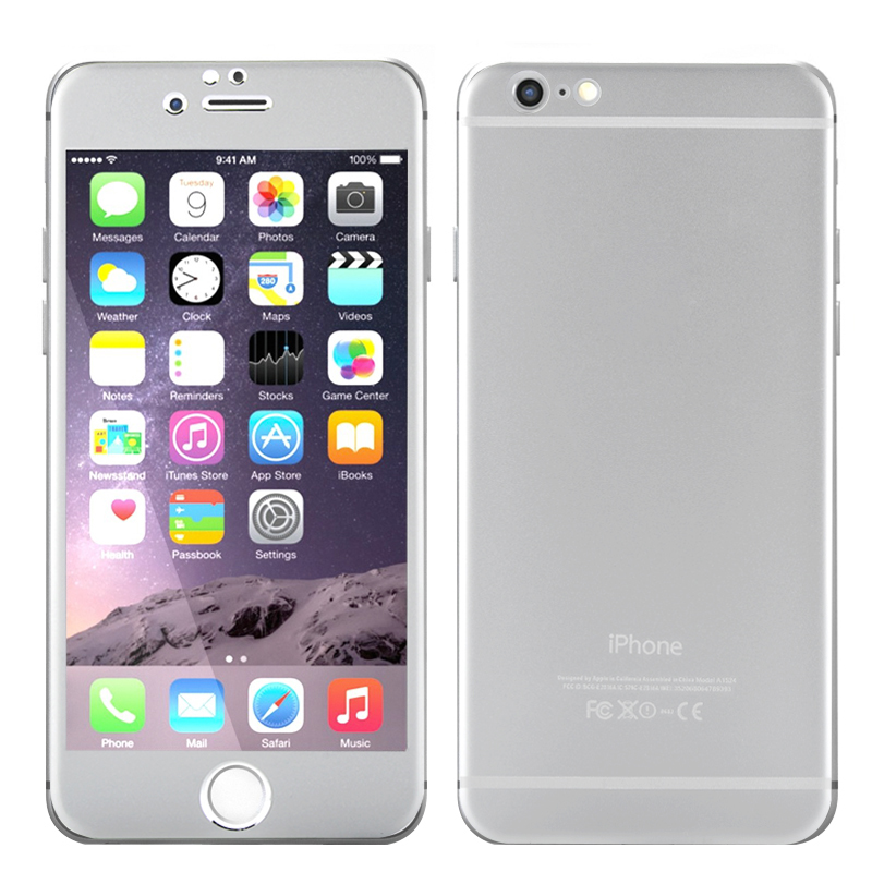 Wholesale 4.7 Inch Protective Cover for iPhone 6 (Alloy Titanium Back, 9H Tempered Glass Front, Scratchproof, Shatterproof, Silver)