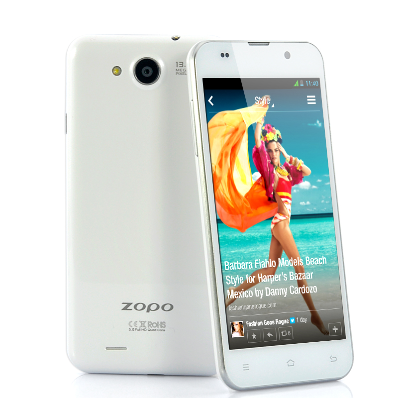 Wholesale ZOPO C3 - 5 Inch FHD Quad Core Android 4.2 Phone (White, 1.5GHz MT6589T, 1920x1080 441ppi Screen, 13MP Camera, 16GB ROM)