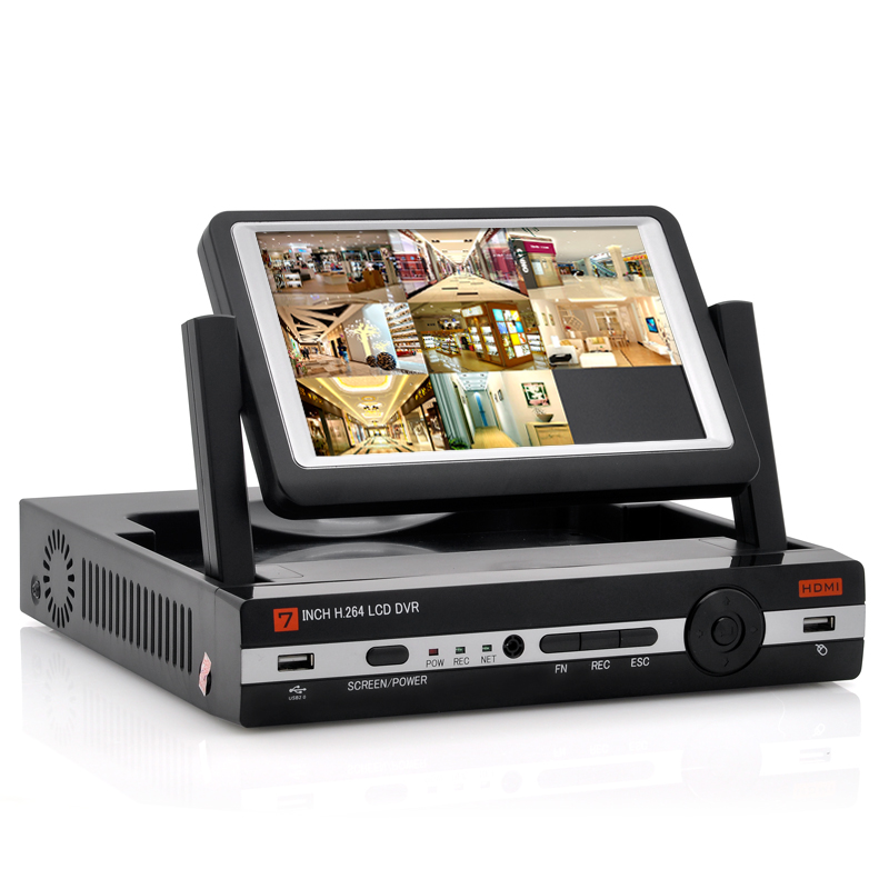 Wholesale 8 Channel DVR with 7 Inch Flip-up Monitor (H.264, D1 Resolution, HDMI Port)