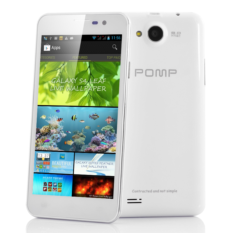 Wholesale POMP King 2 W99A - 5 Inch HD Android 4.2 Phone (1280x720, Quad Core 1.2GHz CPU, 1GB RAM, White)