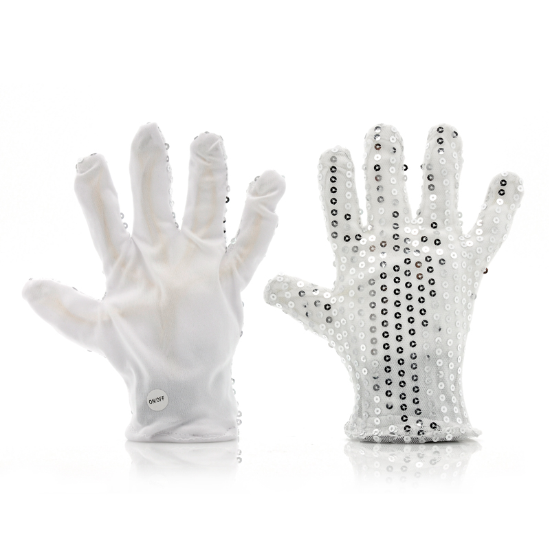 Wholesale Color Changing LED Gloves (6 Flashing Modes, Silver Glitters, 13000MCD)