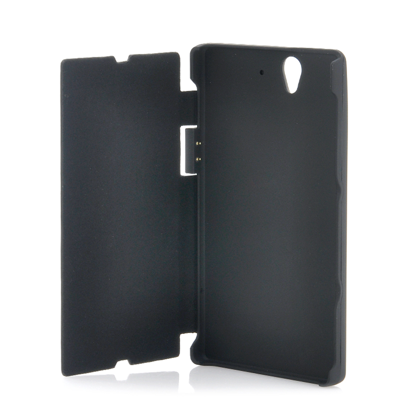 Wholesale Flip Cover Case with 2800mAh Battery for Sony Xperia Z L36h/L36i (Flip-out Stand, Black)