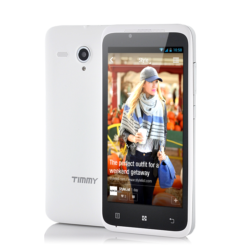 Wholesale Timmy E128 - 4.5 Inch Dual SIM Android Phone (1.3GHz Dual Core CPU, 5MP Camera, GPS, White)
