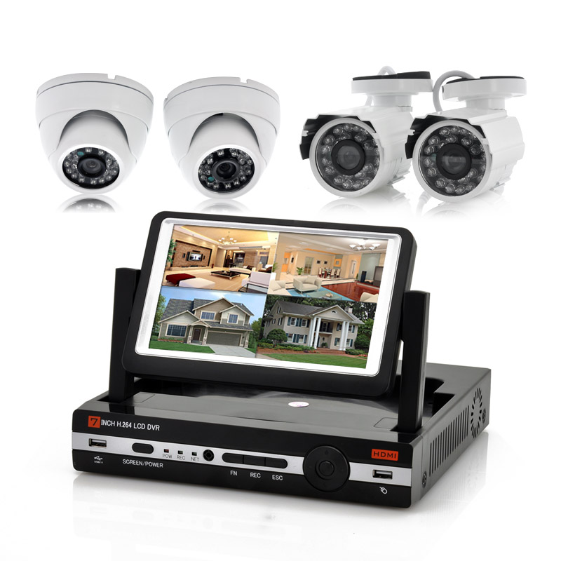 Wholesale Watch-Tower - 4 Channel DVR Kit with 7 Inch LCD Screen (2 Outdoor Cameras & 2 Indoor Cameras, H.264, 600TVL)