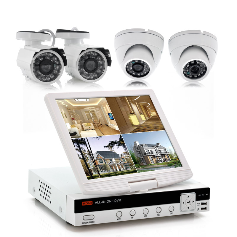 Wholesale Securitex - 4CH Security DVR Kit with 10 Inch Screen (2 Outdoor Cameras & 2 Indoor Cameras, 600TVL, Night Vision, HDMI)