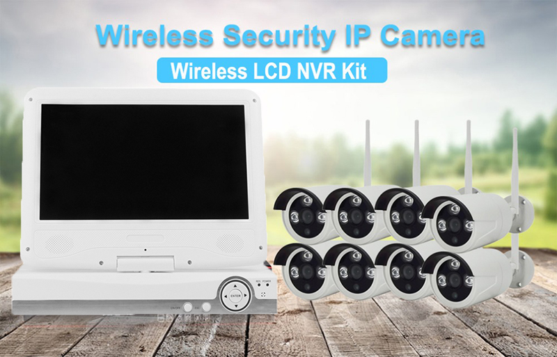 Wholesale 8 Channel NVR Kit (Linux OS, 8x HD Camera, 1080P 10-Inch, Nightvision, WiFi, SATA)