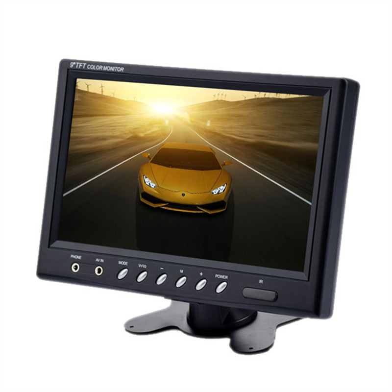 Wholesale 9 Inch TFT LCD Monitor - 800x480, NTSC/PAL, Headrest Mount Frame, Two Way Video Input, 7W