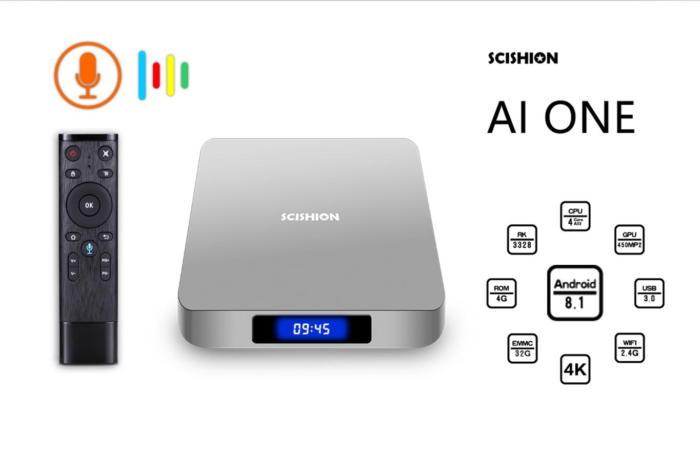 Wholesale AI One Android TV Box 4K Support, Quad-Core CPU, 4GB RAM, Google Play, Kodi TV, Wifi, Android 8.1, 64GB SD Card Support