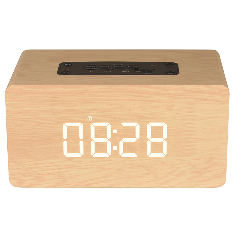Wholesale Alarm Clock Bluetooth Speaker - AUX In, TF Card Slot, Bluetooth 4.2, Hand-free, FM, Wooden Box, 1500mAh Battery