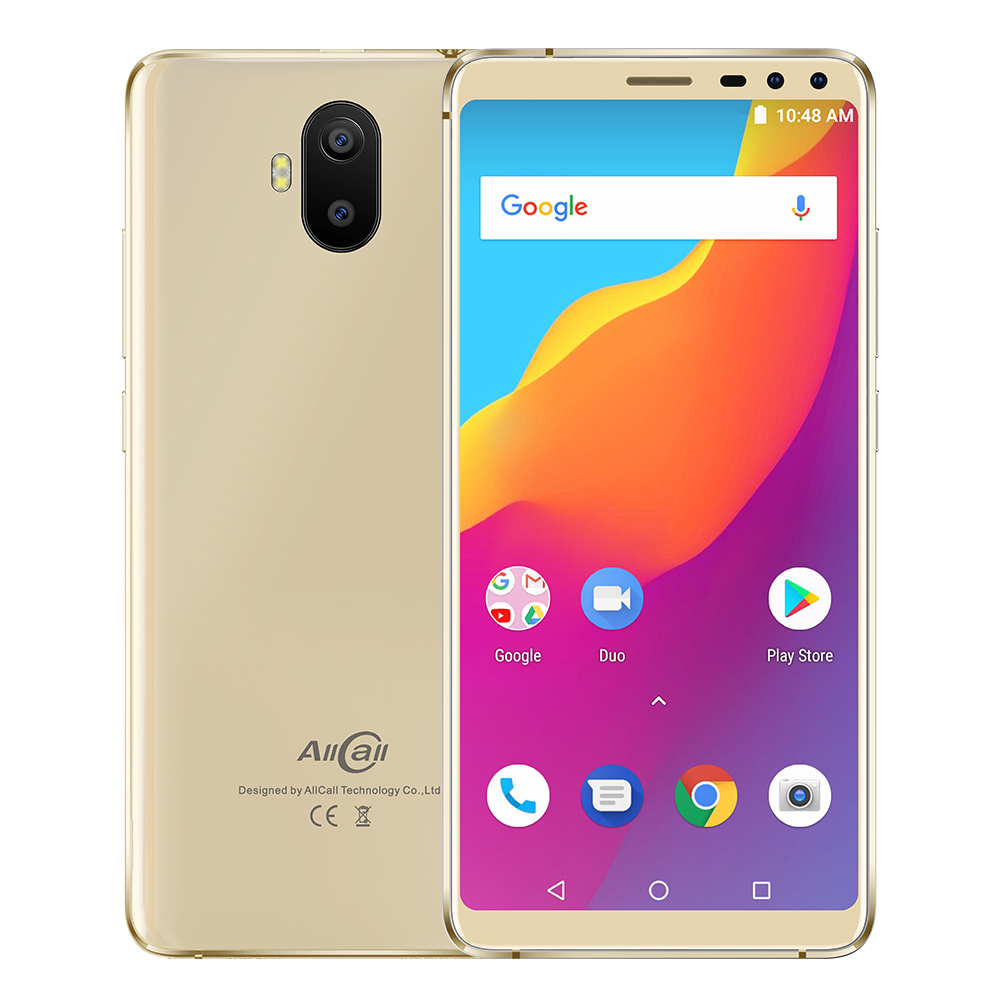 Wholesale AllCall S1 Smartphone - Android 8.1 OS, 5.5-Inch Display, 5000mAh Battery, Front & Rear Camera (Gold)