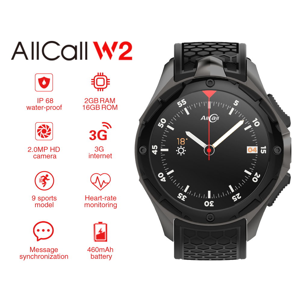 Wholesale AllCall W2 IP68 Android Smartwatch - 3G, 1.39 inch Touch Screen, MTK 6580, Compass, Pedometer, Heart Rate Sensor, Android 7.0