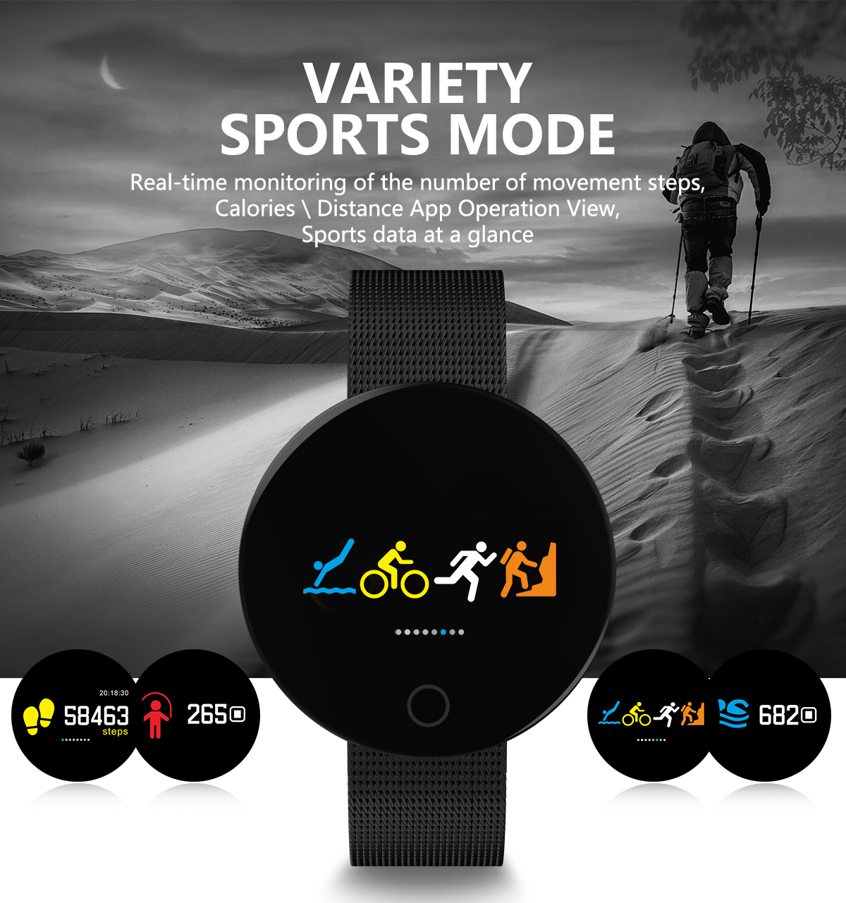 Wholesale Bluetooth Fitness Tracker - Heartrate Monitor, Pedometer, Calorie Counter, Notificaions, Calls, , 0.96 Inch Display Ip67