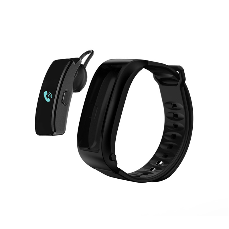 Wholesale Bluetooth Headset Bracelet - 0.96inch Screen, Build in Microphone, Hands Free Phone Calls, Sedentary Reminder (Black)