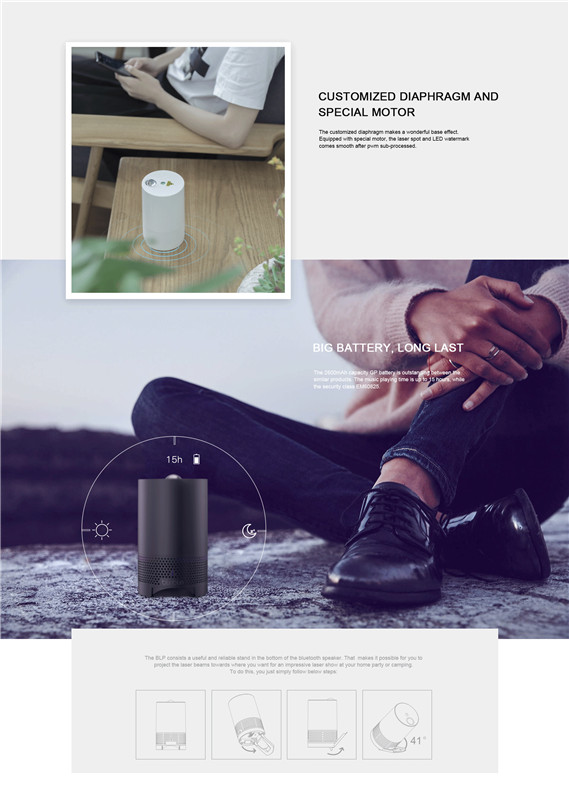 Bluetooth Sound - Controlled Music Laser, Bluetooth 4.0, 2 Laser Mode, Radiation Area 170 Degrees