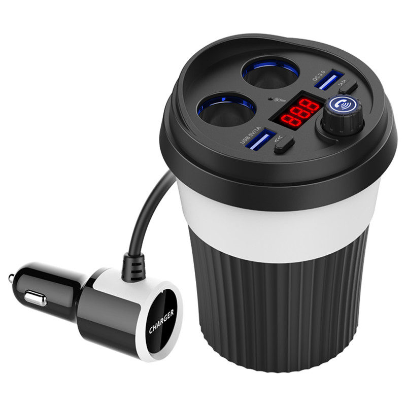 Wholesale Car Bluetooth Cup Adaptor - U-disk Port, Cigarette Lighting Ports, Bluetooth 4.2, Voltage Detection, Support QC3.0