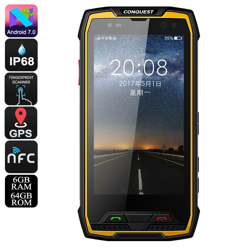 Wholesale Conquest S11 Rugged Smart Phone - Android 7.0, IP68, Octa Core, 64GB ROM, GPS, Fingerprint