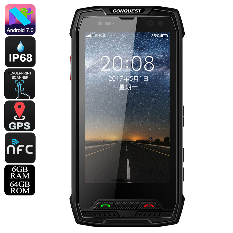 Wholesale Conquest S11 Rugged Smart Phone - IP68, Android 7.0, Octa Core, 64GB ROM, GPS, Fingerprint