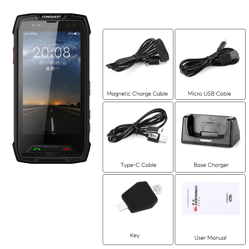 Conquest S11 Rugged Smart Phone Ip68 Android 7 0 Octa