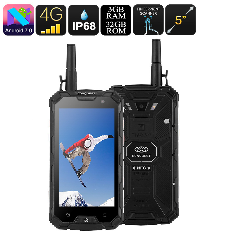 Wholesale Conquest S8 32GB Rugged Smartphone - Octa Core CPU, 3GB RAM, Android 7, 4G, Walkie Talkie, NFC, OTG (Black)