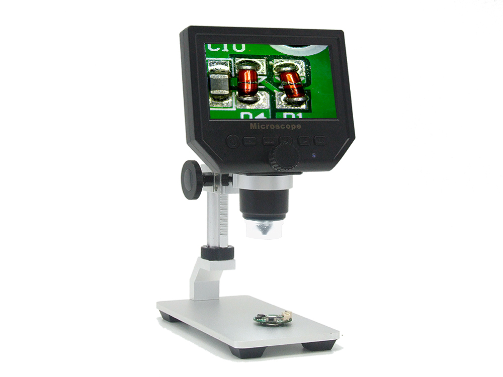Digital Microscope - 600x Zoom, 4.3-Inch HD Display, Built-In Battery, HD Video Recording, Timestamp, Motion Detection