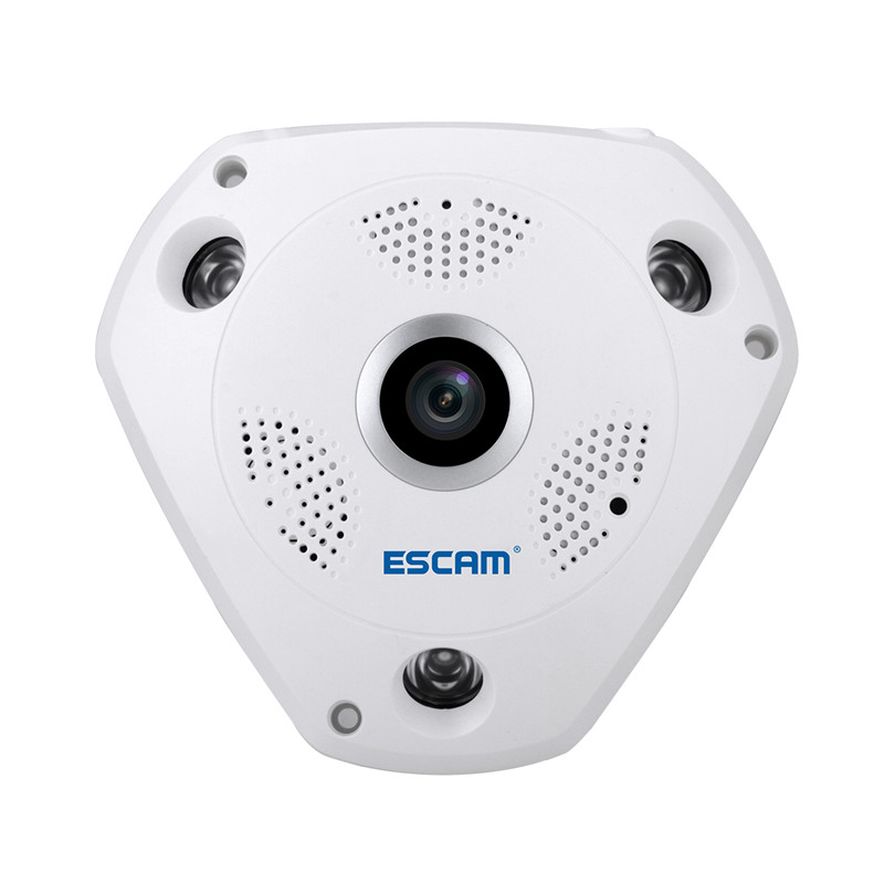 Wholesale ESCAM Shark QP180 IP Camera - HD 960P, WiFi, 360 Degree Panoramic, H.264 Compression, Two Way Talk, IR, Motion Detection