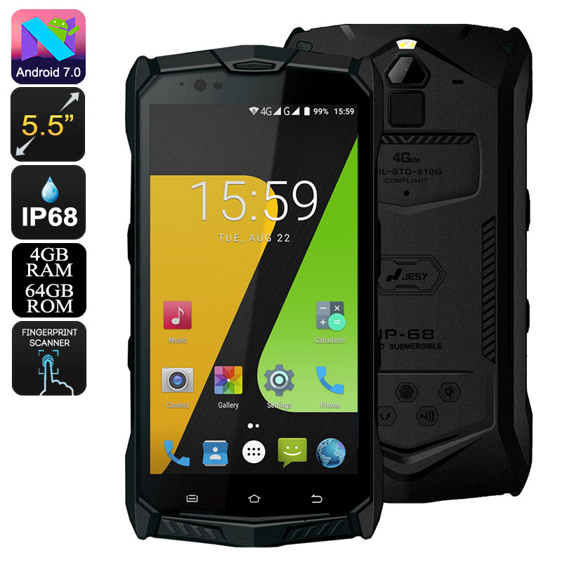 Wholesale JESY J9S Rugged Phone - Android 7.0, Helio P10 Octa-Core CPU, 4GB RAM, 5.5-Inch Display, Wireless Charging, 6150mAh, 16MP Cam