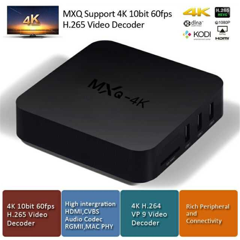 MXQ Android TV BoxAndroid 7 1, Quad-Core, 4K Support, WiFi