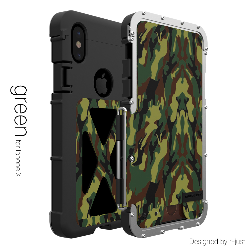 Wholesale Metal Mobile Phone Case for iPhone X - Shock Proof, 360 Degree Protection, X Design (Green)