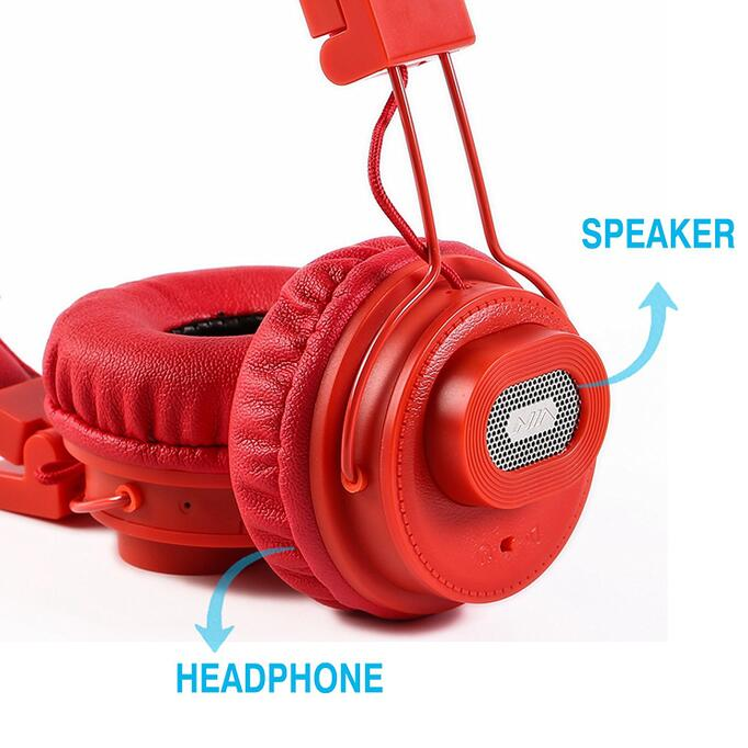 Wholesale NIA X5 Bluetooth Headphones - 40mm HD Drivers, FM Radio, SD Card Slot, Wireless Headphones-Red